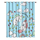 Blackout Window Kitchen Curtains Drapes, 2 Panels Set Window Treatment for Living Room/Bedroom/Office,Valentine's Day Friendship Romantic Unicorns with Rainbow Love Decorating Design, 104W by 63L inch
