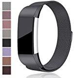 Maledan Metal Bands Replacement for Fitbit Charge 2, Stainless Steel Milanese Metal Accessories Bracelet Strap with Magnet Lock for Fitbit Charge 2 HR, Space Gray Small