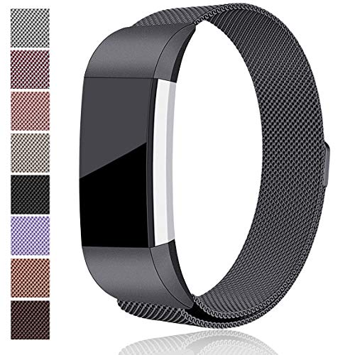 Maledan Metal Bands Replacement for Fitbit Charge 2, Stainless Steel Milanese Metal Accessories Bracelet Strap with Magnet Lock for Fitbit Charge 2 HR, Space Gray Large