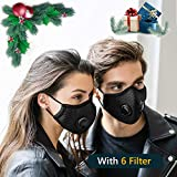 2 Pack Dustproof/Dust Mask with 2 Valves 6 Activated Carbon N99 Filters. Filtration of Dust, Pollen Allergy and PM2.5 Reusable Face Masks for Protective Activities (Black Masks)