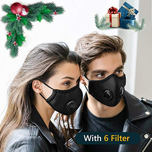 (2 Pack Dustproof/Dust Mask with 2 Valves 6 Activated Carbon N99 Filters. Filtration of Dust, Pollen Allergy and PM2.5 Reusable Face Masks for Protective Activities (Black Masks))