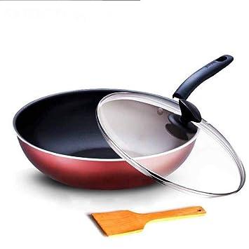 PZXY Woks Fácil de Limpiar no Grasa Wok Antiadherente freír Pan Inicio Cocina Wok: Amazon.es: Hogar