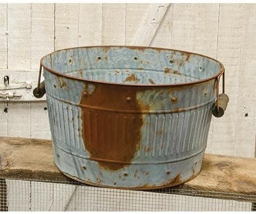Rusty Galvanized Metal Wash Tub