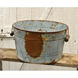 Cheap Rusty Galvanized Metal Wash Tub – Primitive Country Rustic Decorative Home Accent