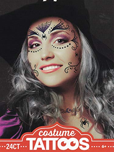 Tattoos Witch - Halloween Realistic Temporary Costume Make Up Face Tattoo Kit Men or Women - (Adult Witch) - 2 Kits