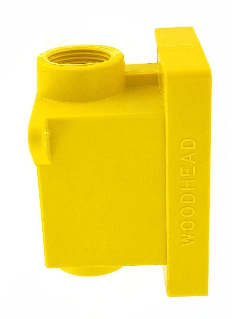 Leviton 454CR FD Box 2 KO Openings 1 Inch for Straight Locking Receptacle Wetguard IP66 Yellow