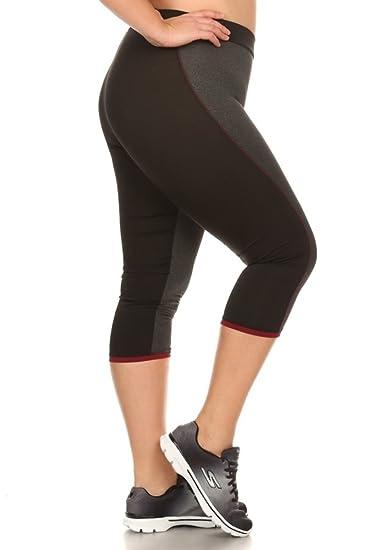 209d3b73f96 Amazon.com  Womens Plus Size Activewear Leggings Sports Pants Capri Mesh  Yoga Gym Bottoms Heather Charcoal Black 1x  Clothing