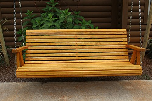 ROLL BACK Amish Heavy Duty 800 Lb 4ft. Porch Swing - Cedar Stain - Made in USA