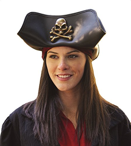 Skull & Crossbones Tricorn Leather Pirate Hat Unisex (Pirates Of The Caribbean Prop Replicas)