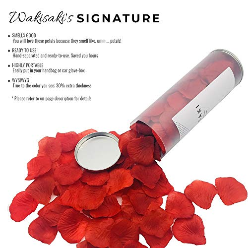 WAKISAKI (Separated, Deodorized) Artificial Fake Rose Petals for Romantic Night, Wedding, Event, Party, Decoration, in Bulk (1000 Count, Dark Red)