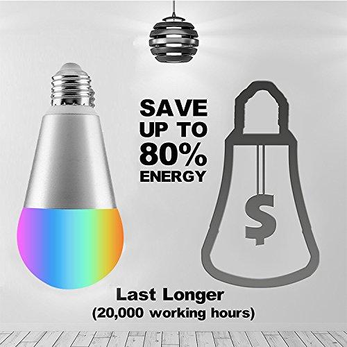 sarabo Smart LED WiFi l/ámpara LED multicolor regulable bombilla WiFi Smart Bombilla 7/W e27rgb Bombilla teledirigido Luz de d/ía y de noche luz con Alexa y Google Home Control Remoto de iOS o Android