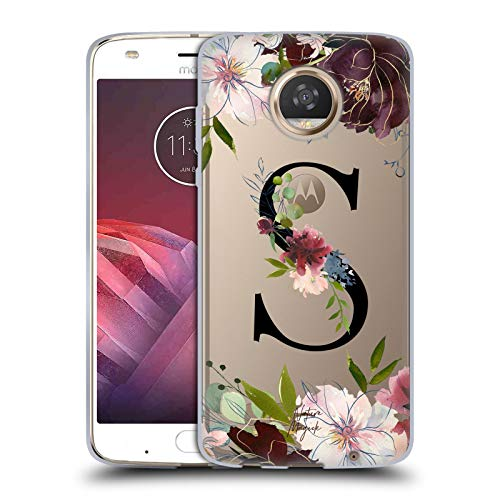 Official Nature Magick Letter S Floral Black Monogram 2 Soft Gel Case for Motorola Moto Z2 Play
