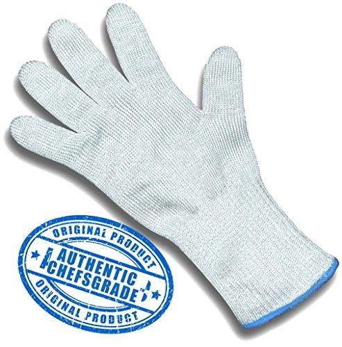 (ChefsGrade Cut Resistant Safety Glove - Protection From Knives, Mandoline and Graters - Soft Flexible with Stainless Steel Wire - One Glove)