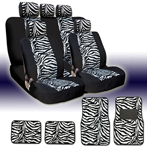 New and Unique YupbizAuto Brand Safari Zebra Print Universal Size Car Truck SUV Seat Covers and Floor Mats Set Velour and Mesh Material Gift Set Smart Pocket (Safari Print Seat Covers)