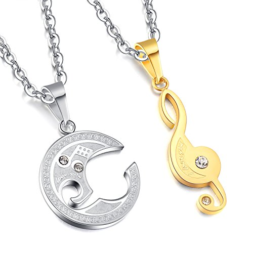 [Areke Couples Best Friend Heart Necklaces,Puzzle Diamond Music Note Engraved Pendant Love Chain Necklace Color Silver] (J Valentine Unicorn Costume)