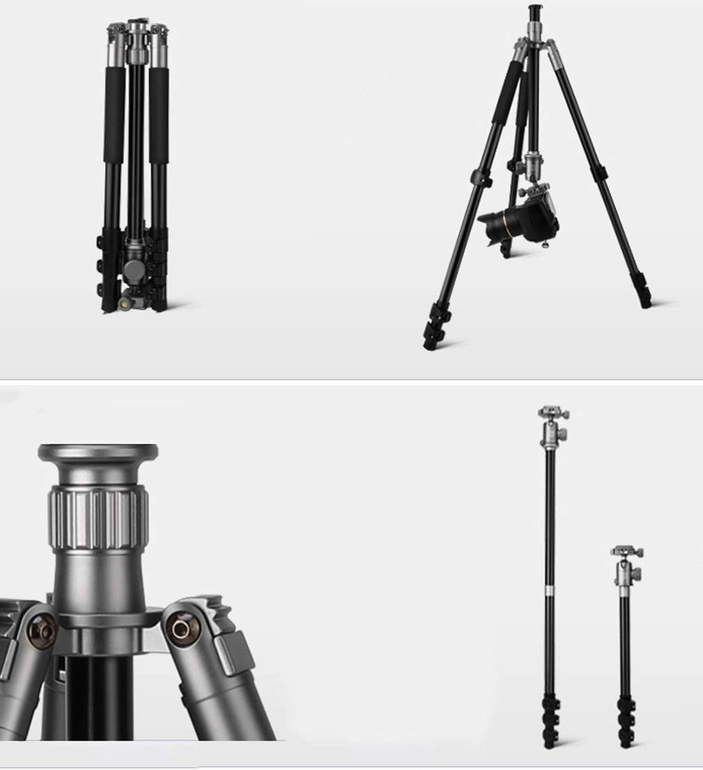 Maximum Height of 62 inches Maximum Load of 17 pounds Color : Black Compact Travel Portable Outdoor Photography Photo Tripod LLluckyHW Lightweight and Portable Foldable Camera Tripod