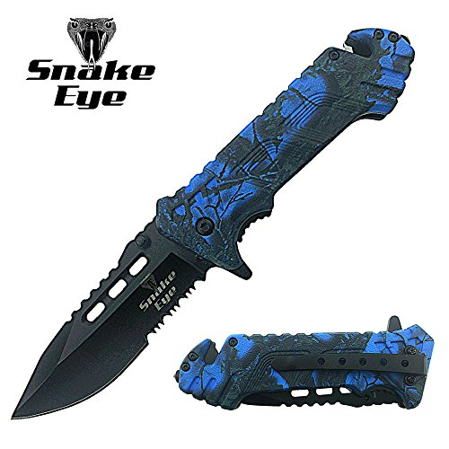 Snake Eye Tactical Action Assist Camouflage Designed Folding Pocket Knife Outdoors Survival Camping Hunting Fishing (Blue) (Action Knife Pocket)