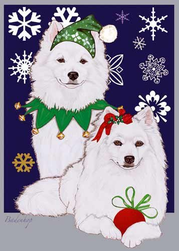 american eskimo dog christmas cards 10 holiday cards with red envelopes adorable - Dog Holiday Cards