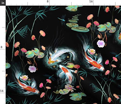 Koi Fish Fabric - Japanese Water Garden Black Chinoiserie Floral Flowers White Frogs Print on Fabric by The Yard - Petal Signature Cotton for Sewing Quilting Apparel Crafts Decor