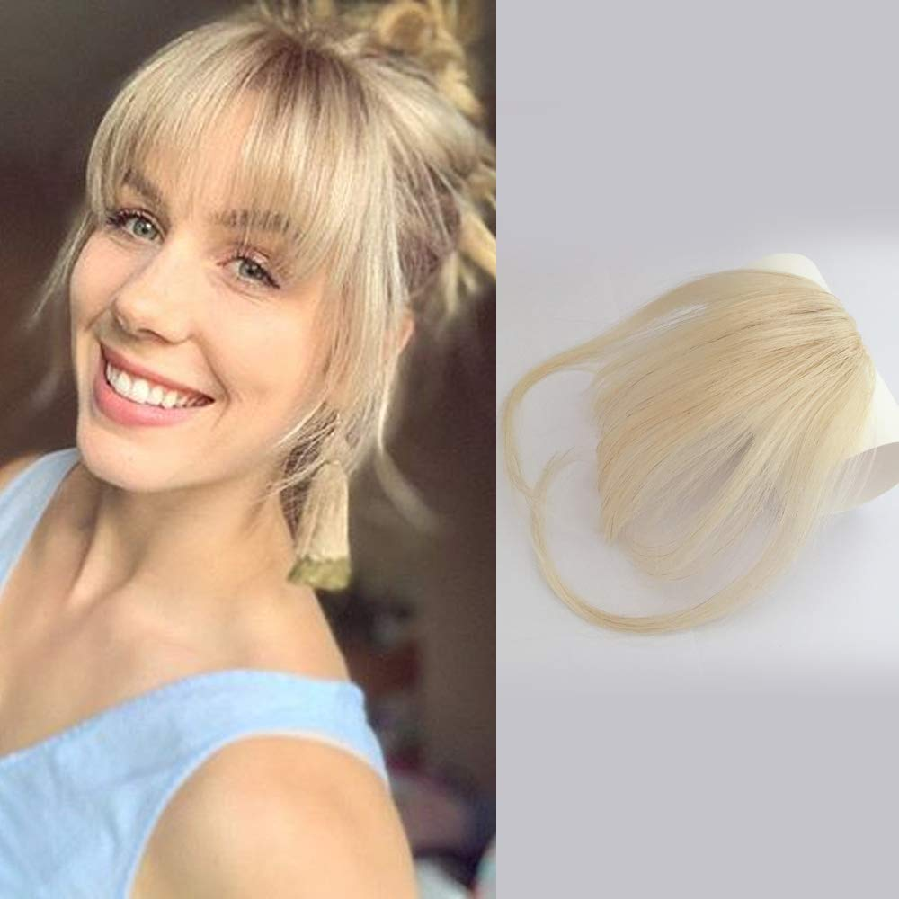 Reysaina Clip in Bangs Blonde #613 Hand Tied Mini Air Fringe Bangs with Temples Front Hair Pieces for Women by Reysaina