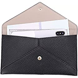 Womens Envelope Clutch Wallet Leather Card Phone Coin Holder Organizer with Zipper Pocket, Black
