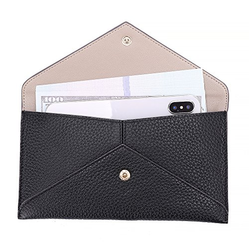 Womens Envelope Clutch Wallet Leather Card Phone Coin Holder Organizer with Zipper Pocket, Black by Paraweyse