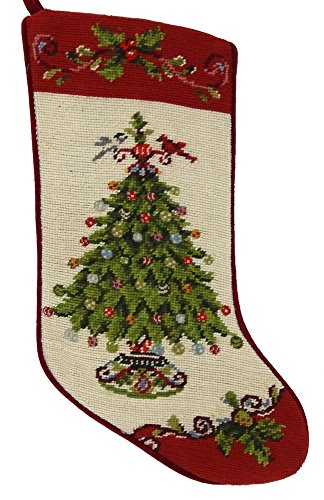 (Kate McRostie Tree Needlepoint Wool Christmas Stocking )