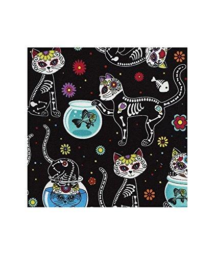 Tela negra gato esqueleto flor pez de Timeless Treasures: Amazon.es: Hogar