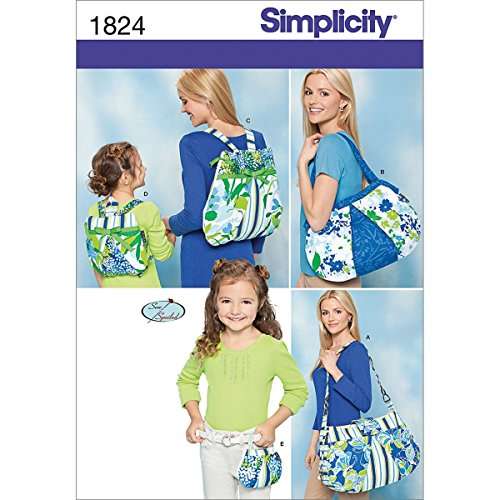Simplicity Sew Spoiled Pattern 1824 Diaper Bag, Shoulder Bag, Backpack, Mini Purse and Child's Backpack Sew Purse Pattern