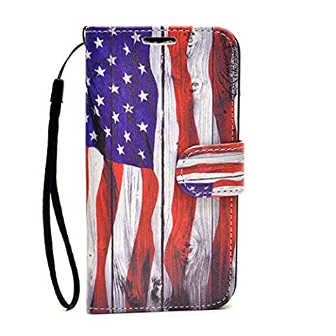 Dasein USA Flag Wallet Custom Cell Phone Case for protective iPhone 4, 4s 5, 5s, Samsung Galaxy Note 3, S5, S4 with Credit Card (Personalized Iphone 4s Phone Case)