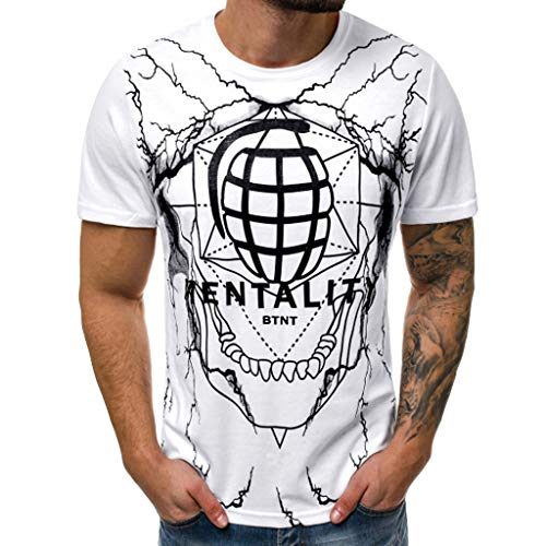 Men's T Shirtmens Hipster Hip Hop Pattern Print T Shirt Summer Tops for Men White