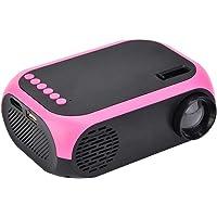 ASHATA Mini Proyector LED Portátil,Multimedia Proyector de Mano Universal para Cine en Casa(Rosa)(US Plug)