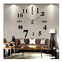 Yikebo English Letters Arabic Numbers DIY Frameless Quartz 3D Mirror Surface Effect Wall Clock Décor Sticker, Black