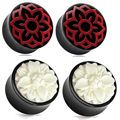 2 Pairs of Organic Buffalo Red and White Flower Wood Ear Plugs Tunnels 0g 00g 1/2 9/16 5/8 3/4 7/8 1 Inch - Ear Organic Plug Bone