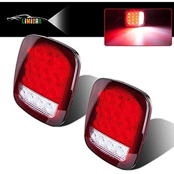 limicar 16led trailer lights red/white dual colors universal back up lamp  stop tail turn signal backup reverse brake marker lights for trailer truck  rv