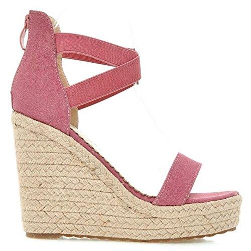 Zanpa Moda Tacon Mujer Cuna de pink 4 Sandalias r5Trq