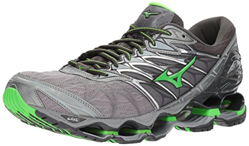 Mizuno Men's Wave Prophecy 7 Running Shoe, Monument/Green Slime, 7 D (Womens Prophecy Sport Shoe)