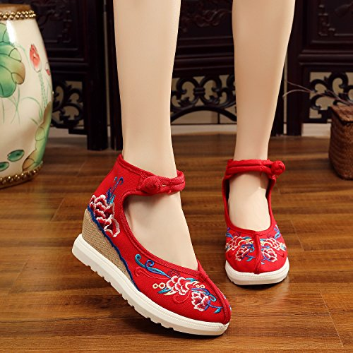 Embroidered increase Shoes Red Gift Shoes Women Art Internal Dance Products Pq45vHxwn5