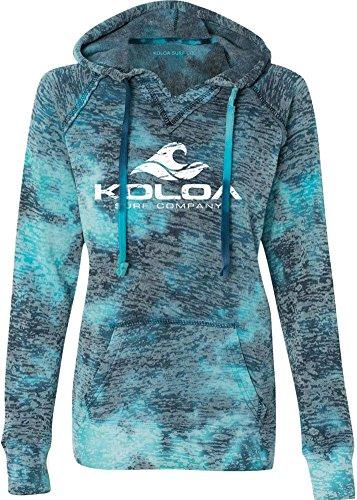 Koloa Surf Co. Womens Vintage Wave Bahama Blue V-Neck Burnout Hoodies in Sizes S-2XL