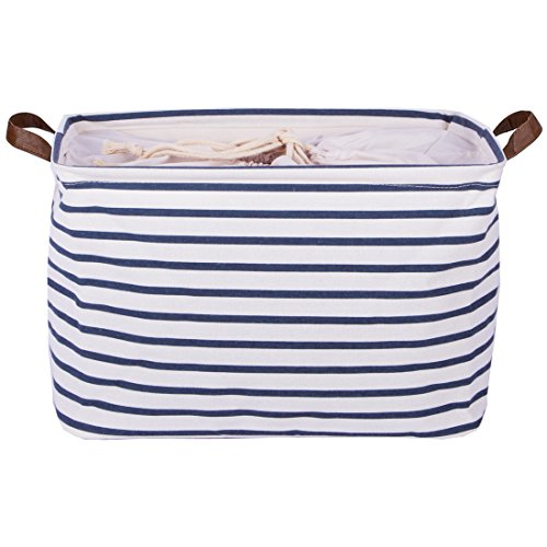 - DOKEHOM 17-Inches Large Storage Basket (Available 15 and 17 InchesWidth), Drawstring Square Cotton Linen Collapsible Toy Basket (Blue Strips, L)