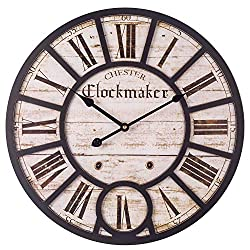 Decor Wall Clock, European Vintage Clock with Large Roman Numerals, Indoor Silent Battery Operated Wood Clock for Home, Living Room, Bedroom, Kitchen and Den - 18 Inch, Distressed White