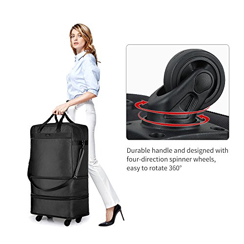 Hanke Expandable Foldable Suitcase Luggage Rolling Travel Bag Duffel Garment Tote Bag for Men Women by Hanke (Image #4)