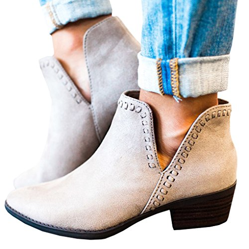Fashion Grey Womens Suede Low Round Ankle Block Casual Autumn Boots Tomwell Shoes Pu Toe Bootie Heel Chelsea Leather q4IdTn