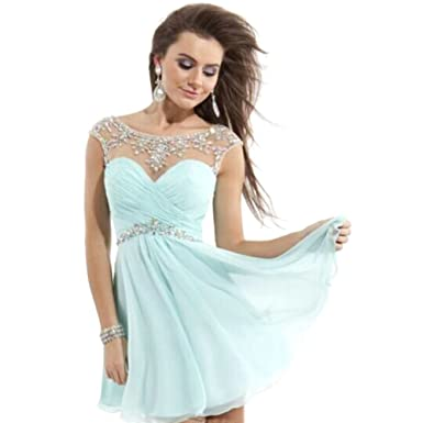 Light Sky Blue Short Homecoming Dresses 2025 Chiffon Prom Dress Cocktail Party Gowns Cheap