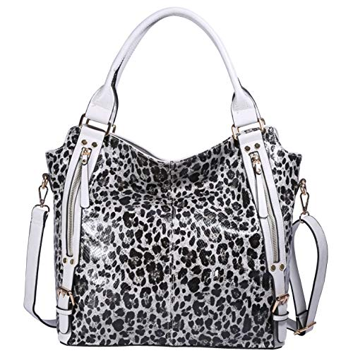 ZOCAI Hobo Shoulder Bag for Women Fashion Tote Top Handle Handbag Faux Leather Two-Tone Python or Leopard Embossed Handbag (Grey-White) ()
