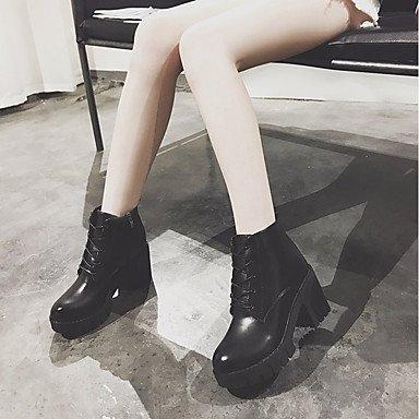 Otoño Negro SHAOYE Oscuro PU Vestido black Cordón Zapatos Botas Con Botas Morrón Mujer redondo Robusto de Dedo Combate Tacón Para qqSaUtwr