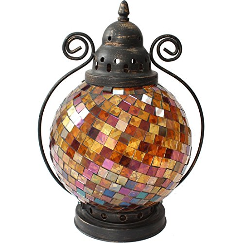 Fjfz Decorative Vintage Partylite Colorful Mosaic Glass Wrought Iron Tea Light Candle Holder Hanging Hurricane Lantern, Amber - Multi Amber Mosaic Glass