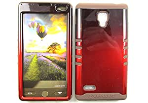 LG OPTIMUS L9 CASE TWO TONE BLACK RED CF-A005-AG HEAVY DUTY HIGH IMPACT HYBRID COVER BROWN SKIN SILICON P769