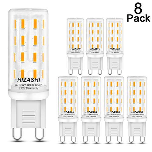 Hizashi Flicker-Free LED G9 Light Bulb, Fully Dimmable, 4.5W, 40W Halogen Equivalent, 450LM, Soft Warm White 3000K, Bi Pin Base, LED Halogen Replacement Bulbs AC 120V - 8 Pack