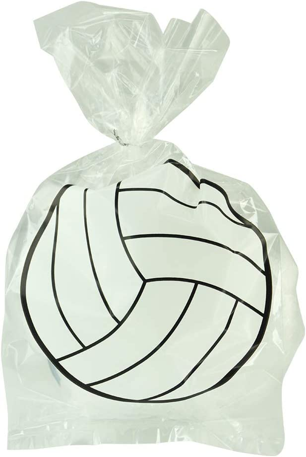 Pack of 24 Plastic Printed Goody Bags with Twist Ties, Food Safe - Volleyball